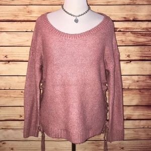 Lucky Brand Rose Pink Shimmer Sweater Large